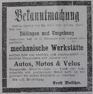 Inserat 1922